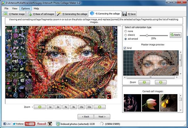 Die Benutzerfläche des Programms Artensoft Photo Collage Maker erstellt Fotocollagen in fünf Schritten