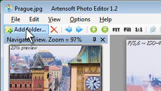 Добавление новых фотографий в фоторедактор через панель кнопок