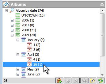 Альбомы, сформированные по дате, месяцу, году