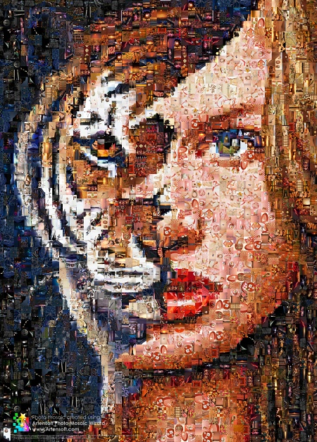 Photomosaic (Photo collage) -- Girl and Lion