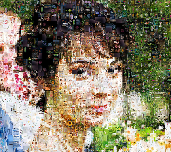 photo mosaic with wedding photos