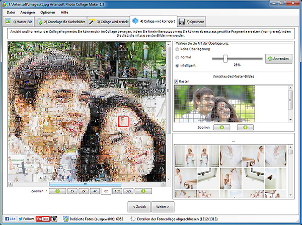 Korrigieren einer Collage: Sie können, wenn Sie möchten, für jede Zelle ein besseres Bild auswählen