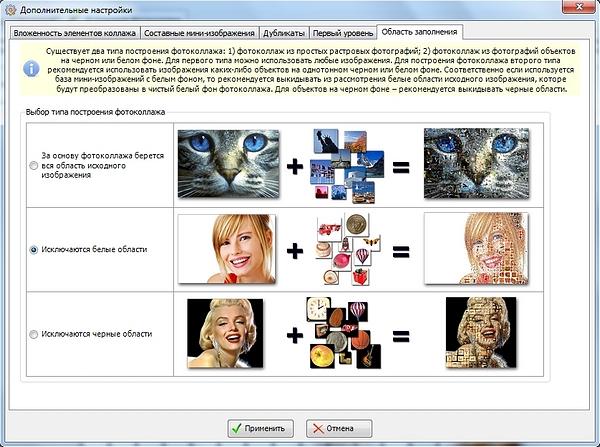 Дополнительные настройки в Photo Collage Maker: выбор типа построения коллажа, исключение белого или черного фона
