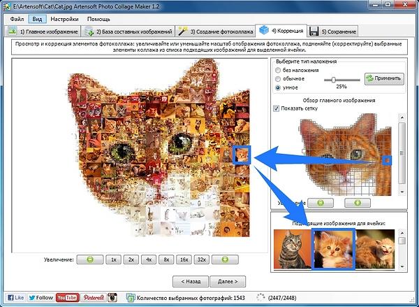 Четветый шаг при создании фотоколлажа в Photo Collage Maker: возможность замены элементов коллажа в окне предпросмотра